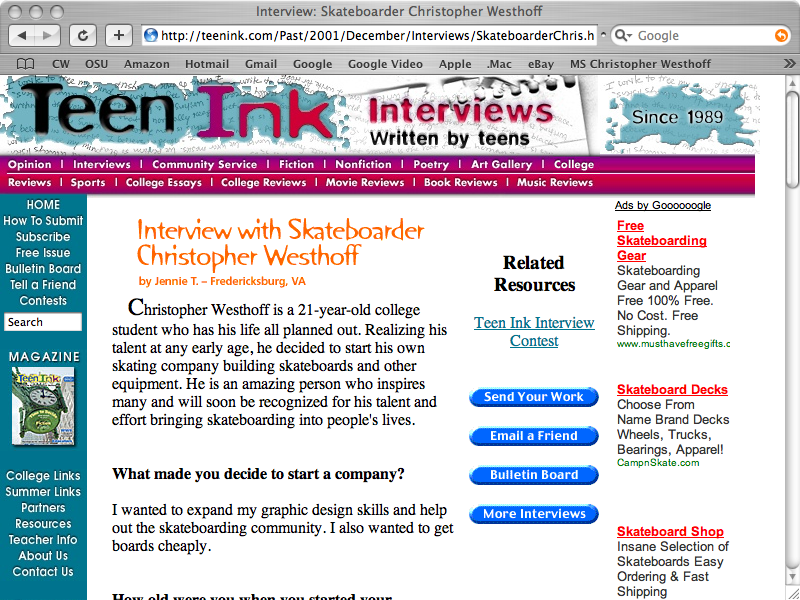 Christopher Westhoff Teen Ink Interview (Image of Web Page)